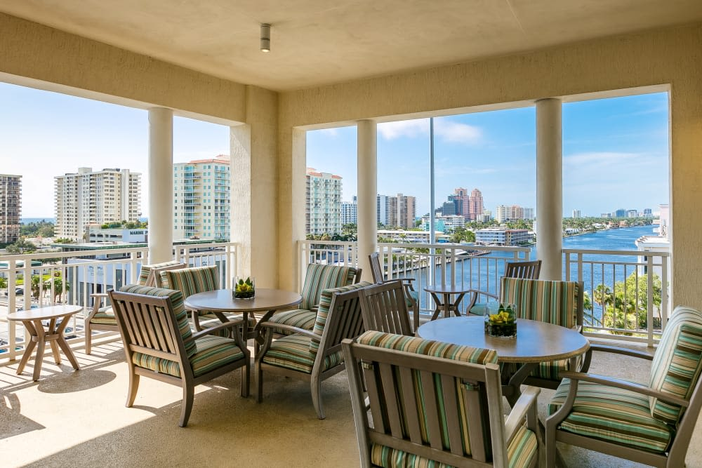 Covered patio at The Meridian at Waterways in Fort Lauderdale, Florida.