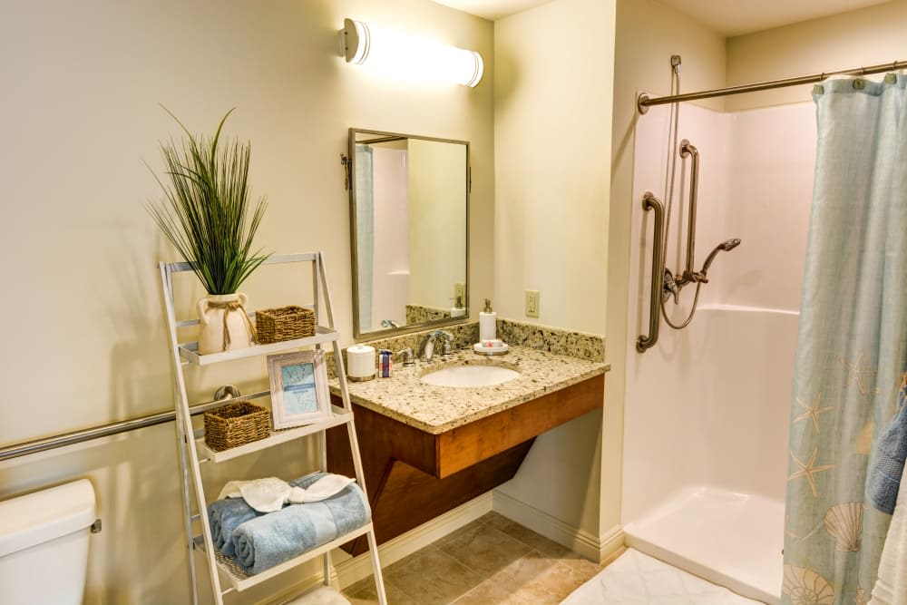Private resident bathroom at The Meridian at Waterways in Fort Lauderdale, Florida