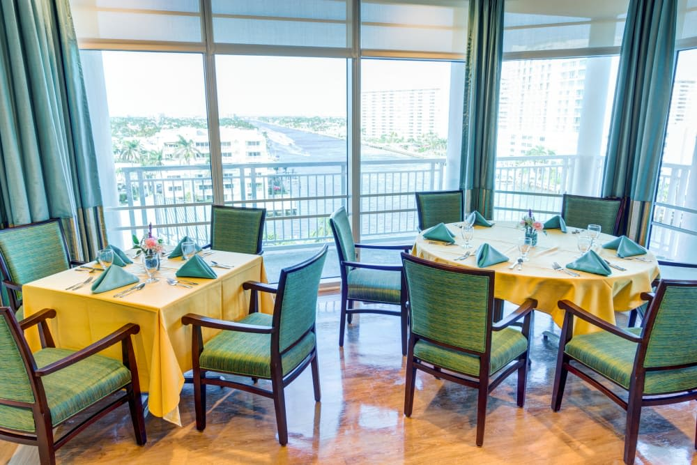 Dining room with views at The Meridian at Waterways in Fort Lauderdale, Florida.