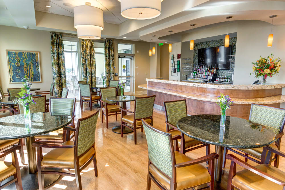 Spacious dining area at The Meridian at Waterways in Fort Lauderdale, Florida.