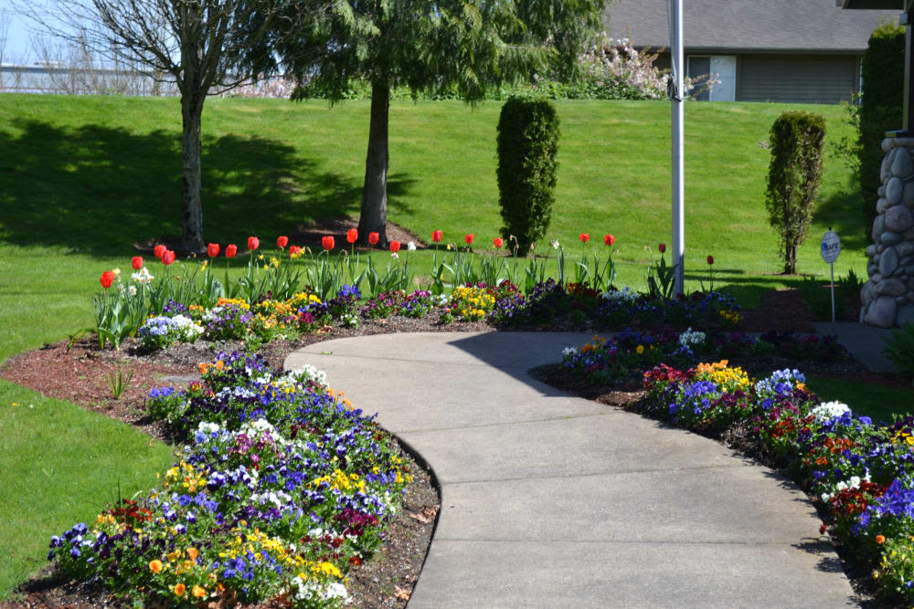 Pathway and beautiful garden at Pier Park in Portland, Oregon
