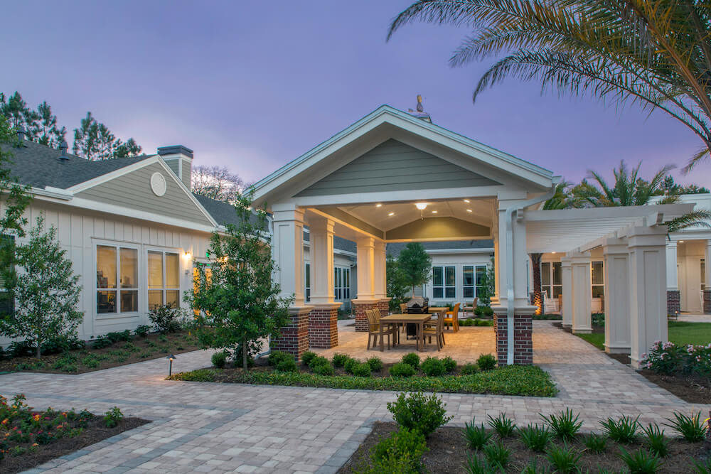 The courtyard at San Jose Gardens Alzheimer's Special Care Center in Jacksonville, Florida