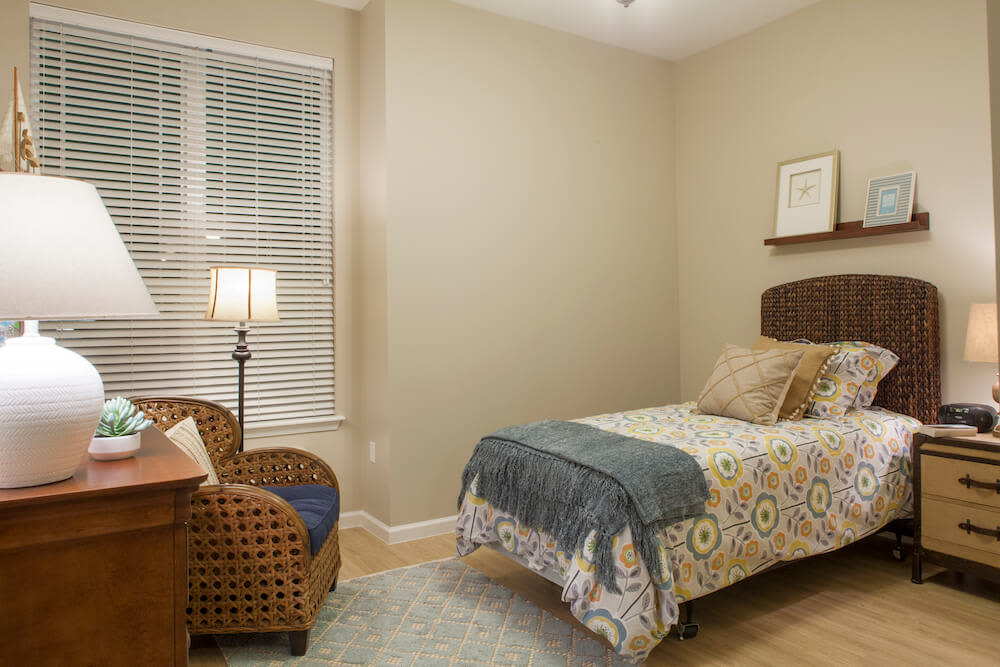 A furnished studio apartment at San Jose Gardens Alzheimer's Special Care Center in Jacksonville, Florida