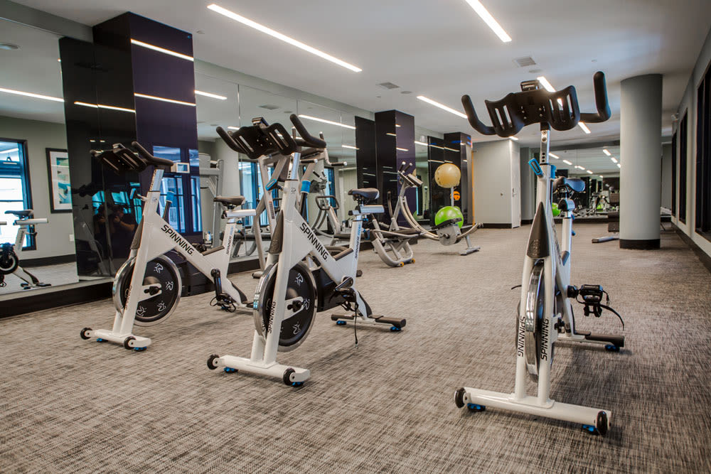 Spin and yoga room at The Mark Parsippany in Parsippany, New Jersey