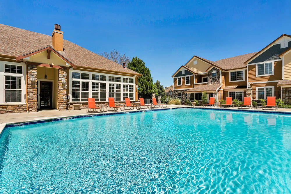 The large community pool at Crestone Apartments in Aurora, Colorado