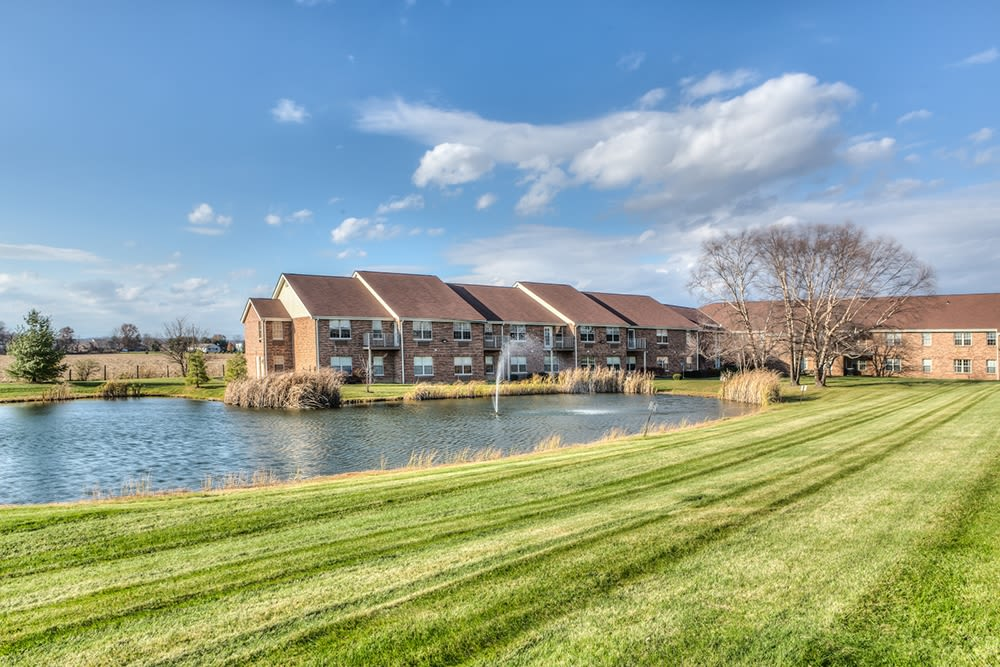 Beautiful lake outside facility at Reflections Retirement in Lancaster, Ohio.