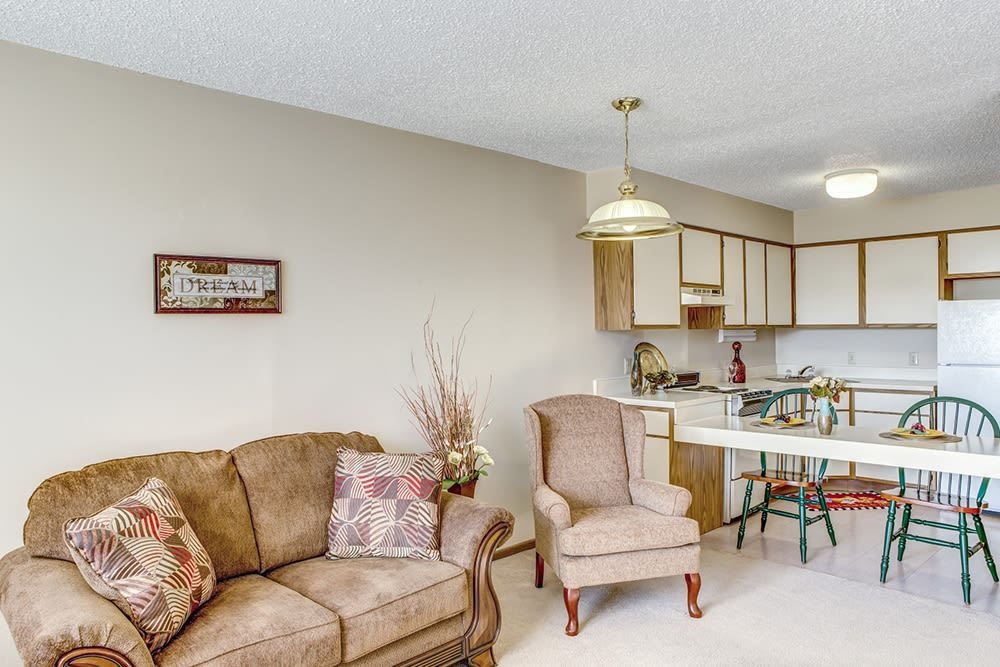 Kitchen area in senior living apartment at Reflections Retirement in Lancaster, Ohio.
