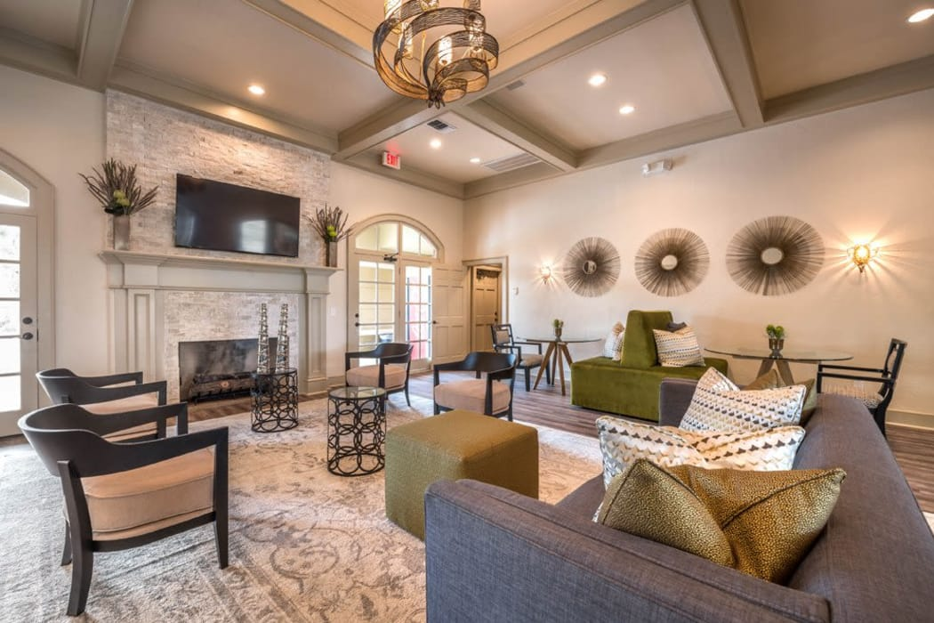 Lavishly decorated resident clubhouse at Kenwood Club at the Park in Katy, Texas