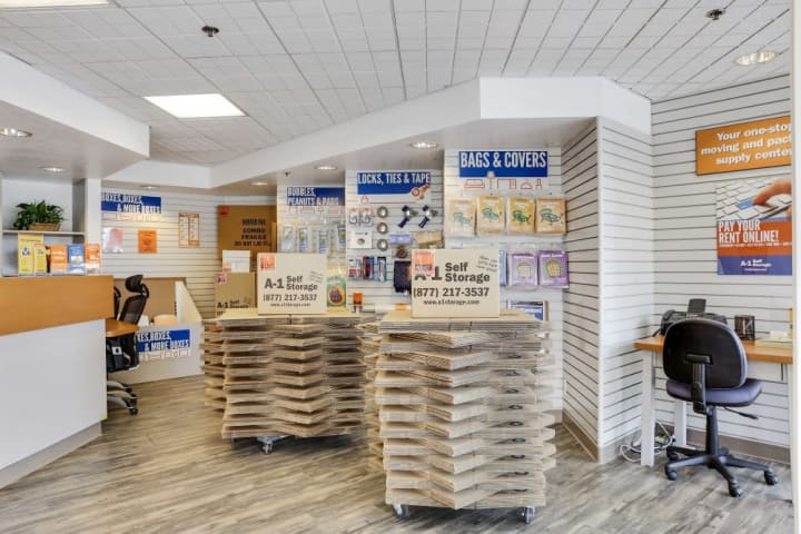 The inside of the front office at A-1 Self Storage on Monterey Highway in San Jose, California.