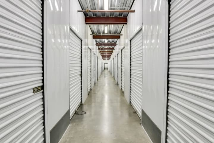 A view down an interior hallway at A-1 Self Storage on High Street in Oakland, CA.