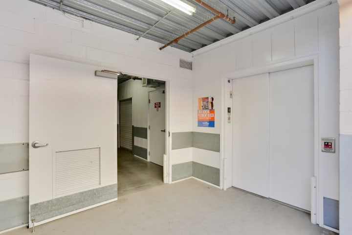 Inside of A-1 Self Storage in Kearny Mesa, CA, you can find wide hallways, elevators, automatic lighting, and security doors to keep your things another level of safe.