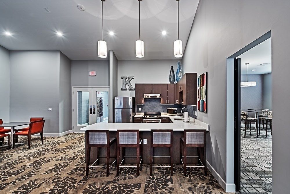 Community kitchen that is great for entertaining at The Kane in Aliquippa, Pennsylvania