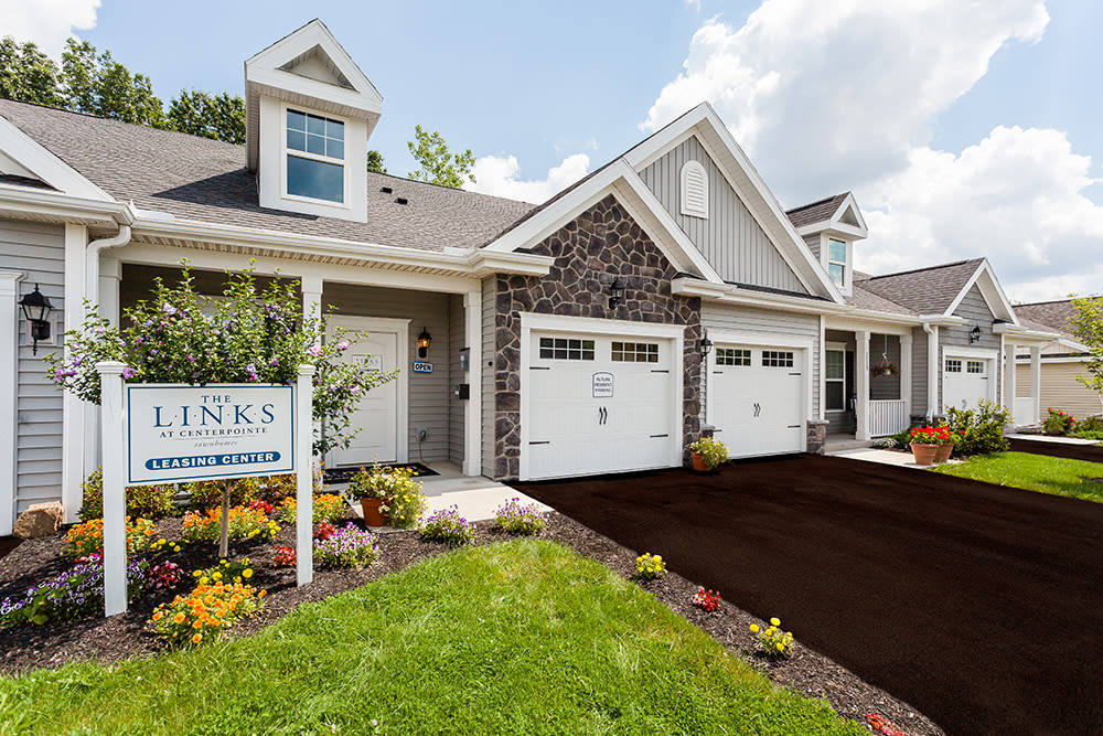 Exterior of The Links at CenterPointe Townhomes' leasing office in Canandaigua, New York