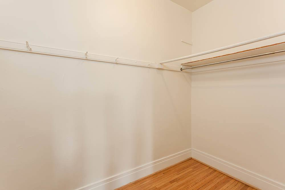 Large walk in closet at Colby, Carlton, and Colby Park Apartments in Rochester, New York