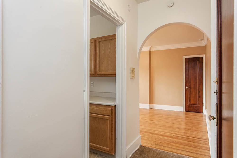 Hallway arch in apartment at Barrington Apartments in Rochester, New York