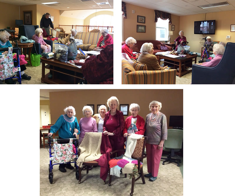 residents of Traditions of Hershey in Palmyra, Pennsylvania making prayer shawls