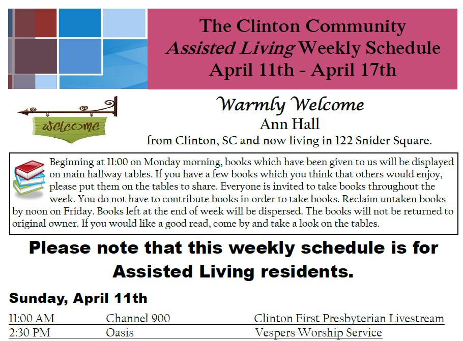 Sample activity calendar at The Clinton Presbyterian Community