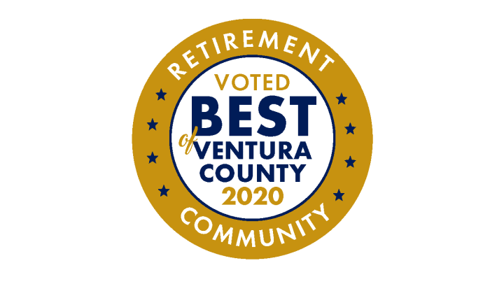 Award circle that says Voted best of ventura county retirement community 2020