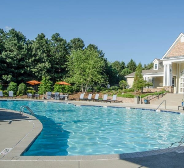Resort style swimming pool at Lullwater at Saluda Pointe in Lexington, South Carolina