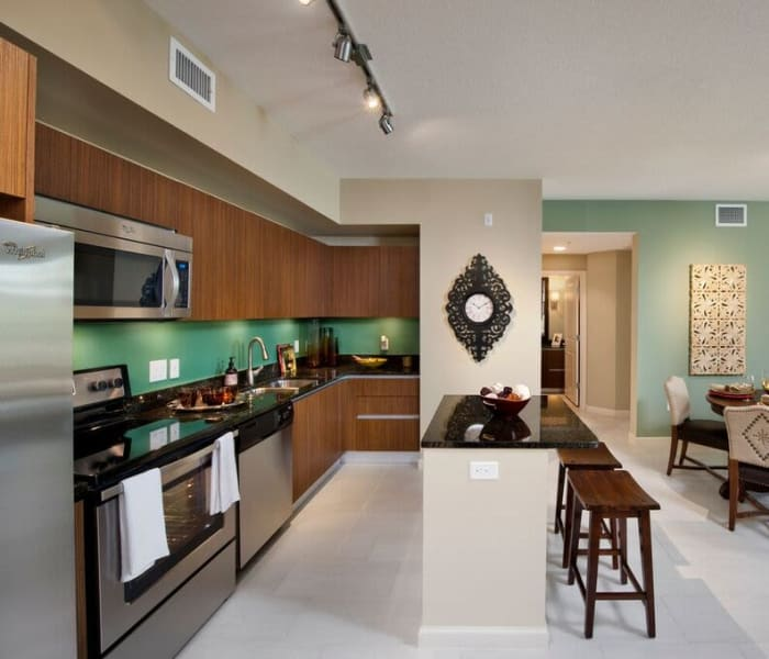 Chef-inspired gourmet kitchen with granite countertops in a model home at Doral View Apartments in Miami, Florida