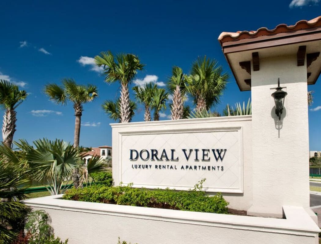 Our sign welcoming residents and their guests to Doral View Apartments in Miami, Florida