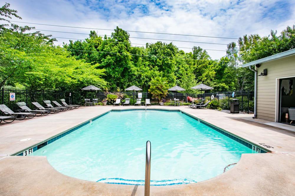 Sparkling pool at Newnan Lofts Apartment Homes in Newnan, Georgia