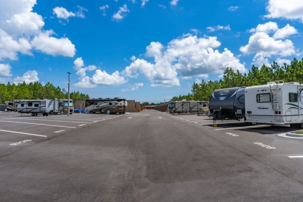 RV and boat storage spaces available at StorQuest Self Storage in Fresno, California