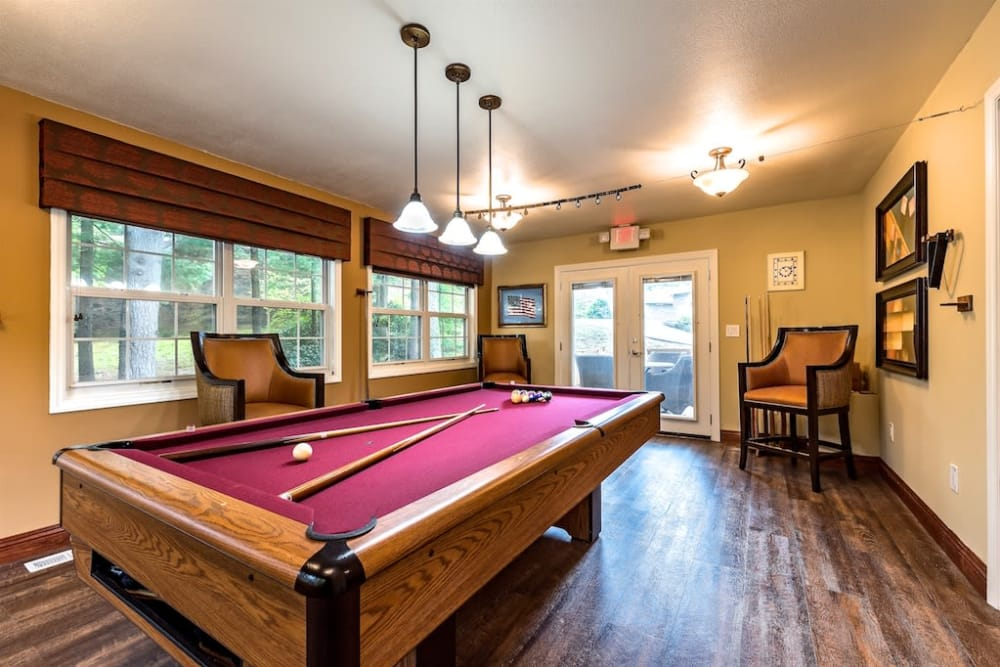 Billiard Room Clubhouse at Pacifica Senior Living Heritage Hills in Hendersonville, North Carolina