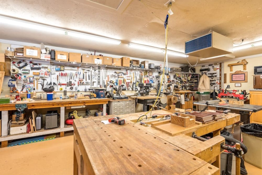 Resident Woodshop at Pacifica Senior Living Heritage Hills in Hendersonville, North Carolina