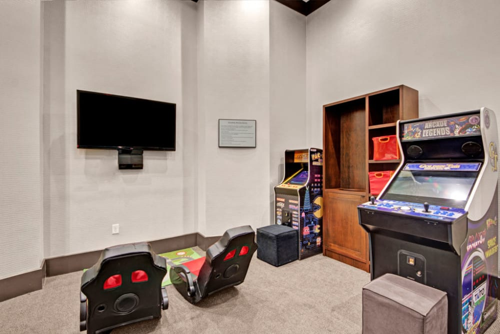 A game lounge at City Center on 7th Apartment Homes in Pembroke Pines, Florida