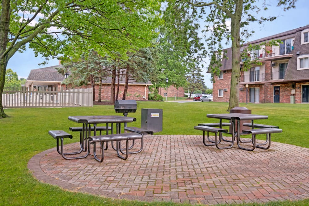 Outdoor picnic area with large grassy area and a barbecue for gatherings with family or friends at Blackhawk Apartments in Elgin, Illinois