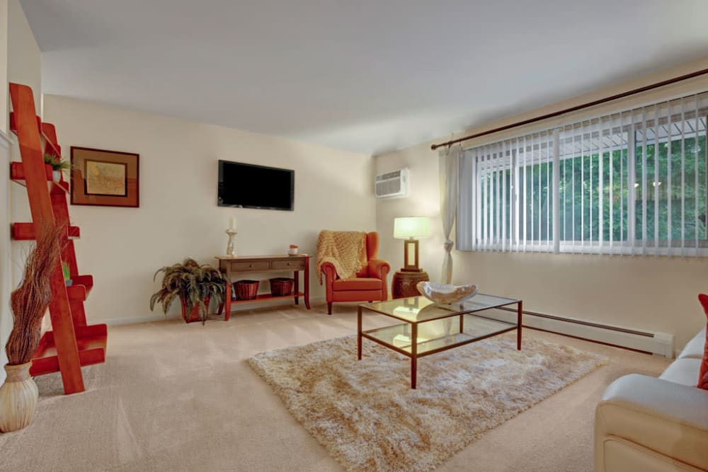 Spacious living room at Blackhawk Apartments in Elgin, Illinois