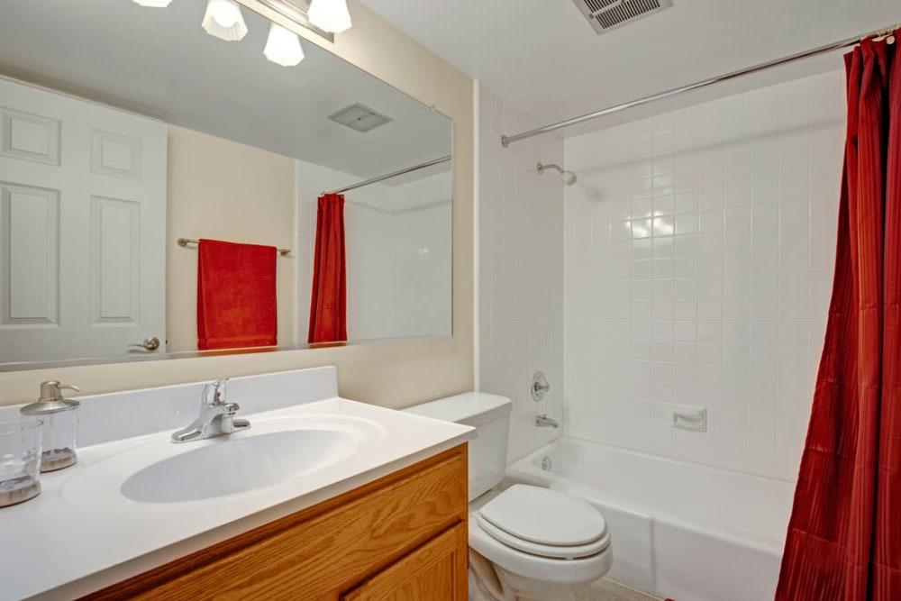 Bathroom with tub-shower combo at Blackhawk Apartments in Elgin, Illinois