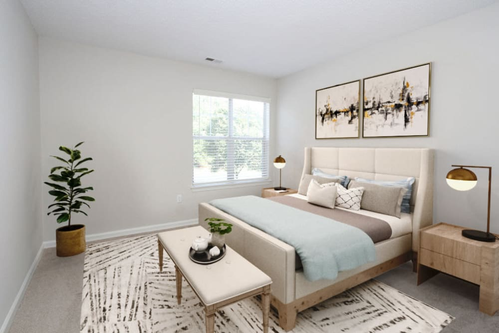 Model bedroom in Palmetto Place in Fort Mill, South Carolina