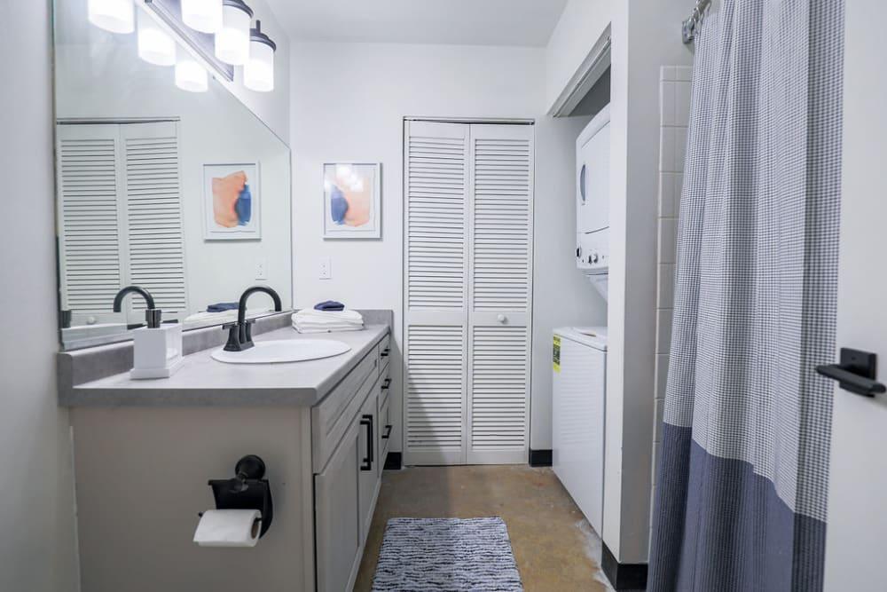 Bright bathroom at Lofts at Riverwalk in Columbus, Georgia