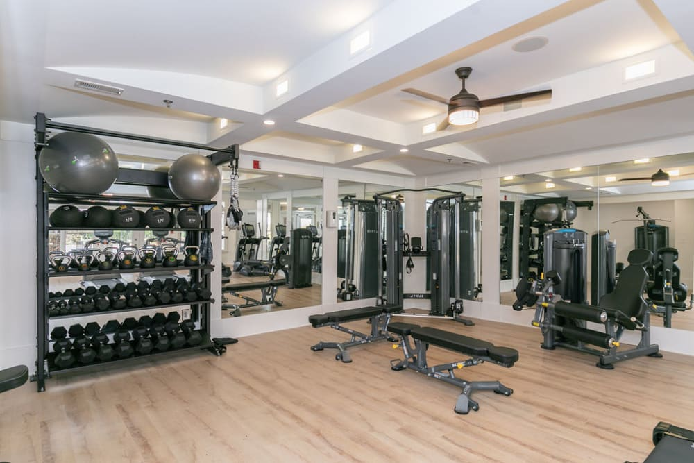 Fully equipped fitness room at Highland Square in Atlanta, Georgia