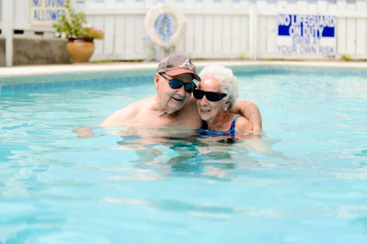 Residents enjoying the pool at Sandpiper Village in Mt. Pleasant, South Carolina
