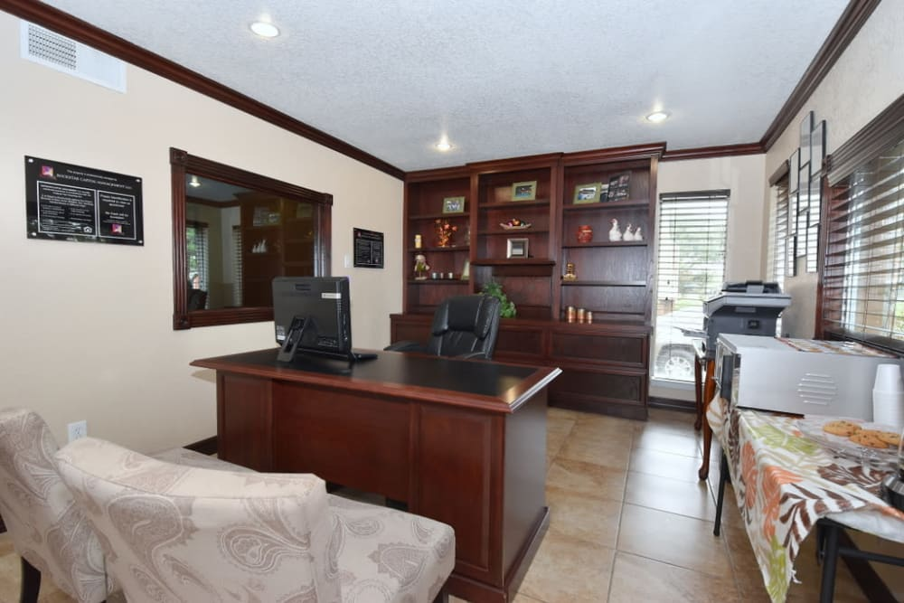 Modern office at Falls of Maplewood Apartments in Houston, Texas