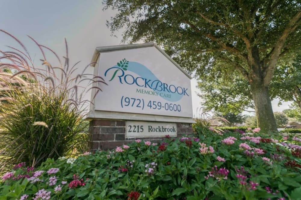 Sign at RockBrook Memory Care in Lewisville, Texas