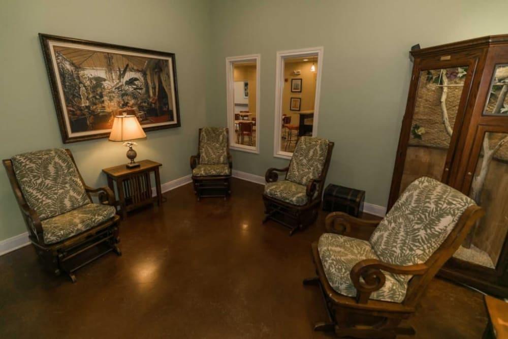 Elegant sitting area at RockBrook Memory Care in Lewisville, Texas
