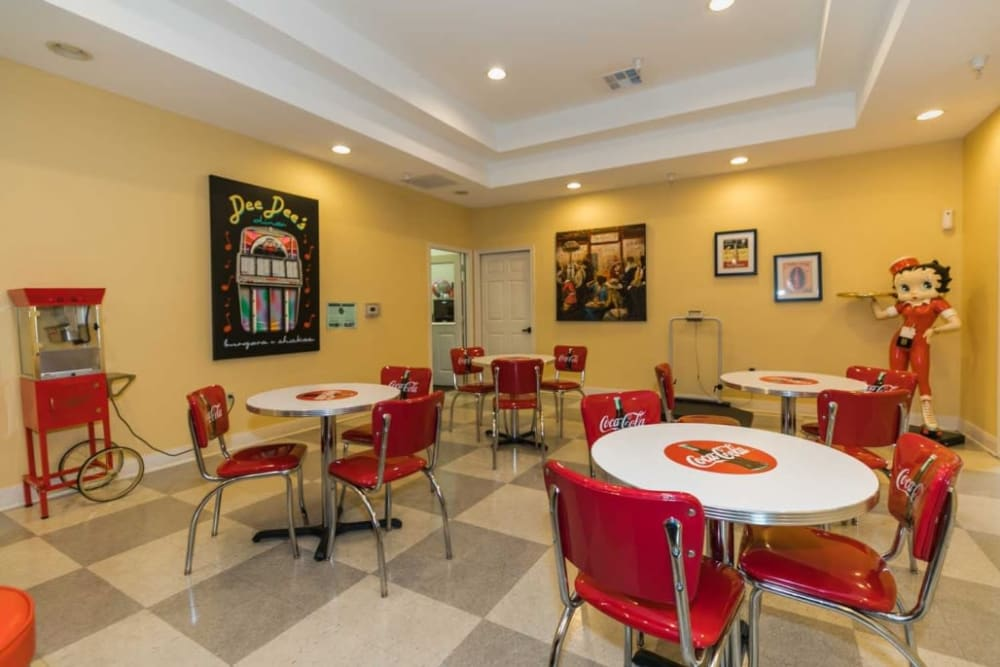 Coca Cola themed diner at RockBrook Memory Care in Lewisville, Texas