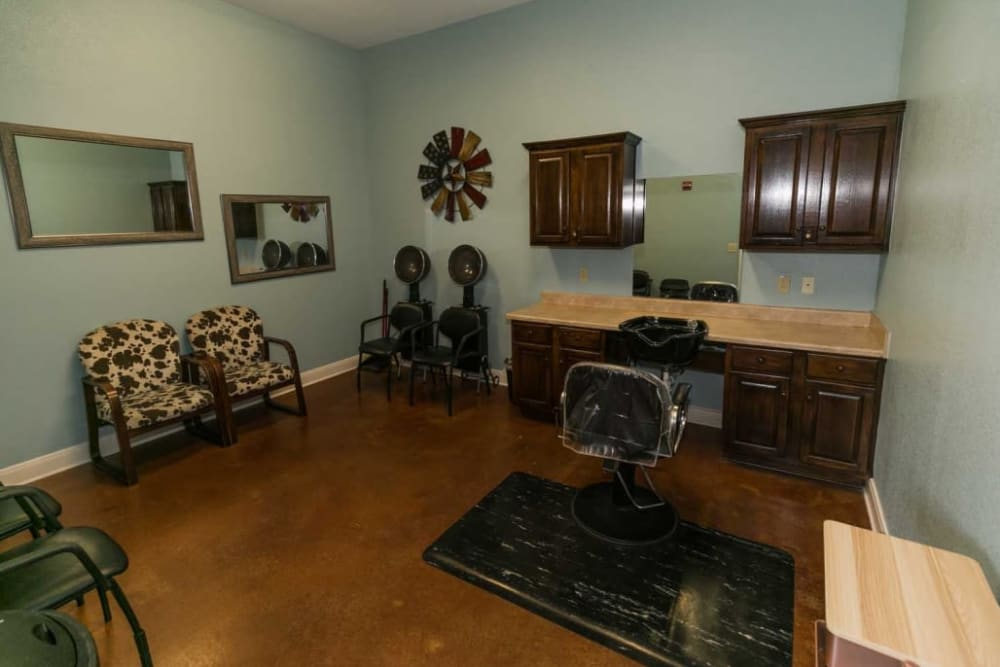 Beauty salon at RockBrook Memory Care in Lewisville, Texas