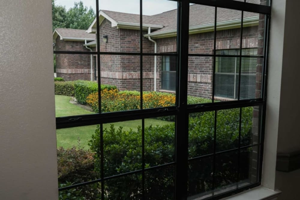Window view at RockBrook Memory Care in Lewisville, Texas