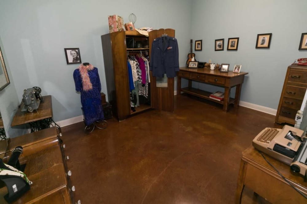 Closet and apartment at RockBrook Memory Care in Lewisville, Texas