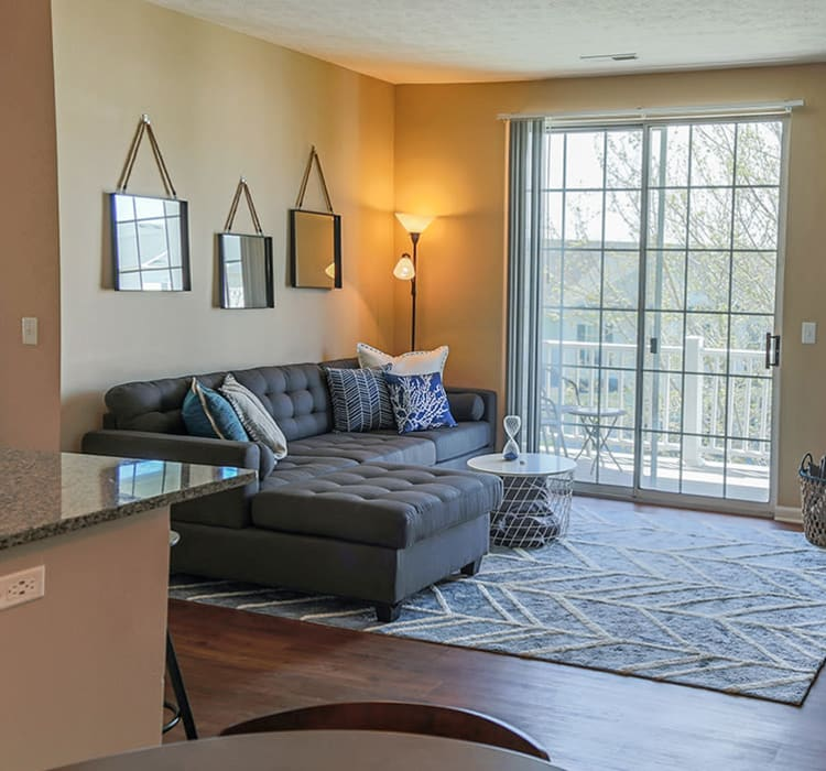 Cozy living room at The Preserve at Beckett Ridge, in West Chester, Ohio