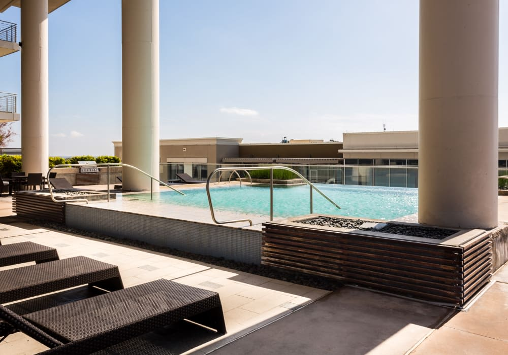 Poolside view at The Heights at Park Lane in Dallas, Texas