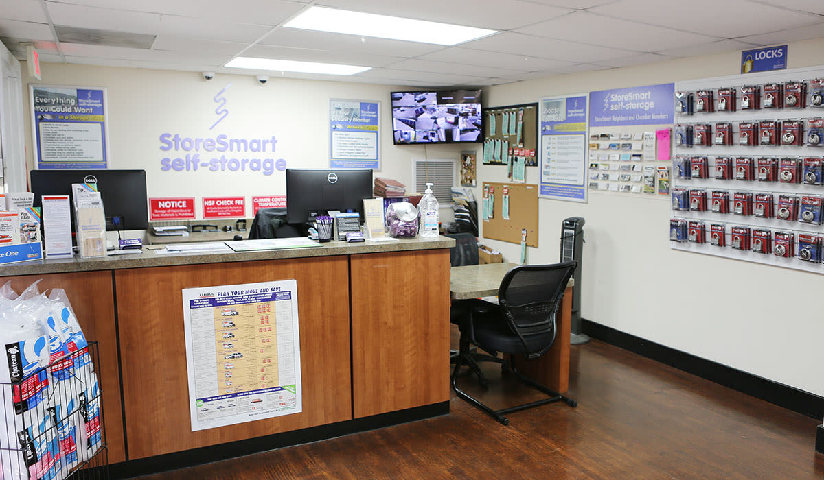 Leasing desk at StoreSmart Self-Storage in Charleston, South Carolina