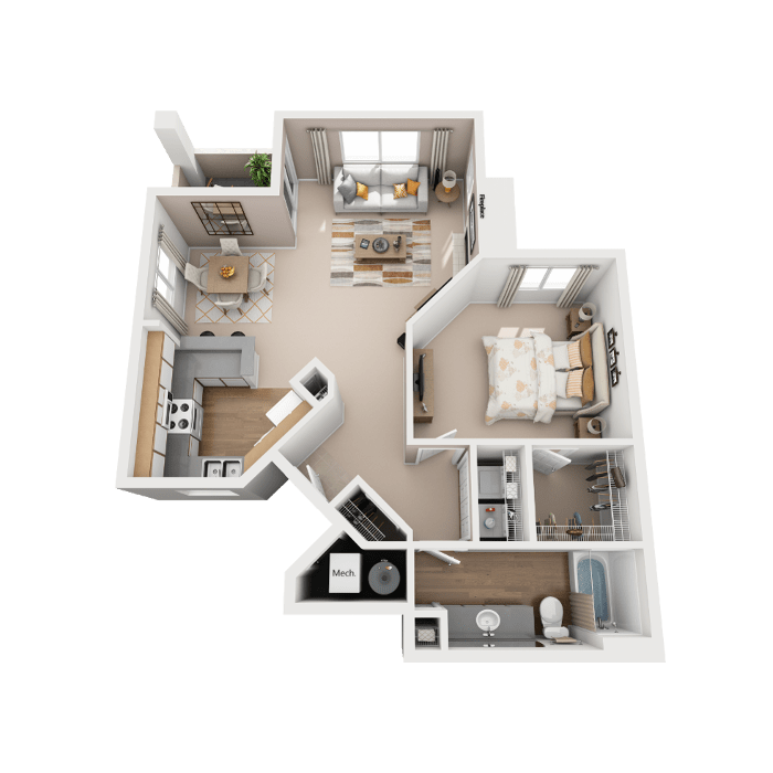 1 Bedroom Floor Plan - Coronado