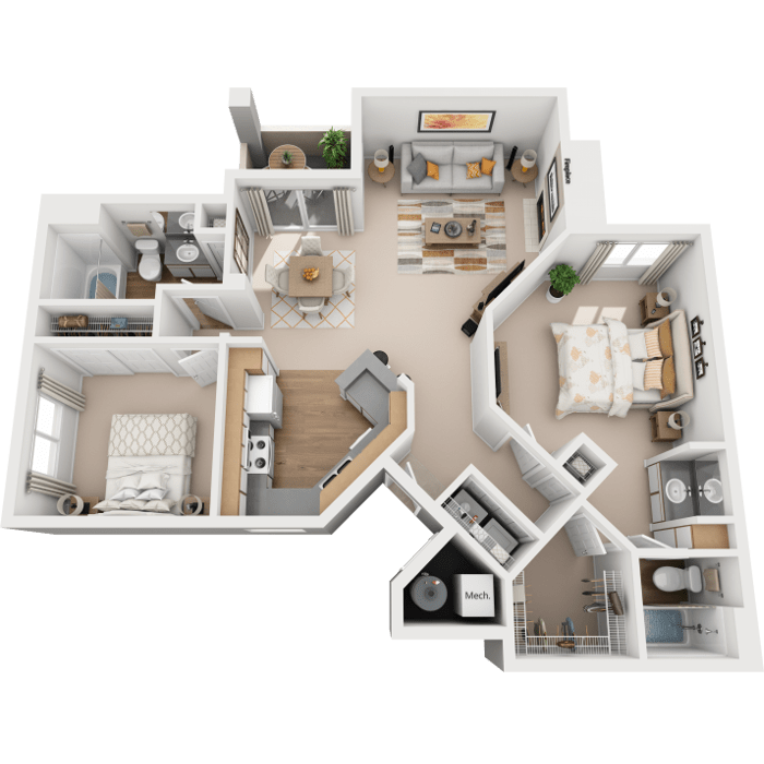 2 Bedroom floor plan - Rio Vista