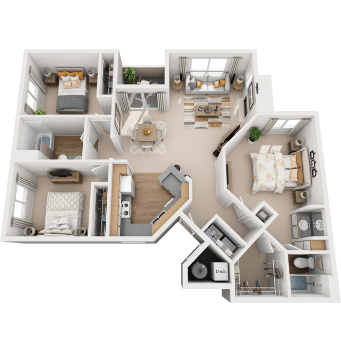 3 Bedroom floor plan - Santa Ana